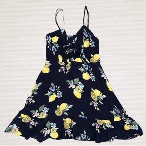 SAGE Ruffle Lemon Print Mini Dress